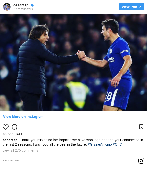 Instagram post by cesarazpi: Thank you mister for the trophies we have won together and your confidence in the last 2 seasons. I wish you all the best in the future. #GrazieAntonio #CFC