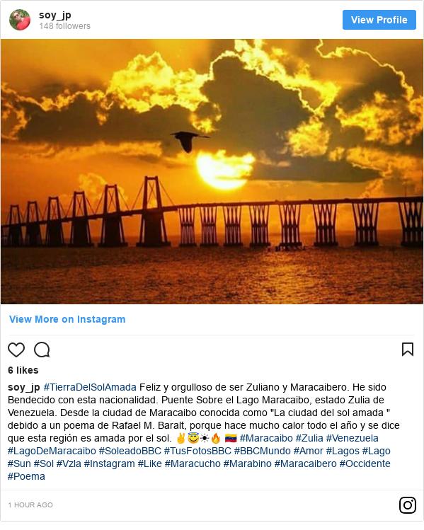 """Publicación de Instagram por soy_jp: #TierraDelSolAmada Feliz y orgulloso de ser Zuliano y Maracaibero. He sido Bendecido con esta nacionalidad. Puente Sobre el Lago Maracaibo, estado Zulia de Venezuela. Desde la ciudad de Maracaibo conocida como """"La ciudad del sol amada """" debido a un poema de Rafael M. Baralt, porque hace mucho calor todo el año y se dice que esta región es amada por el sol. ✌😇☀🔥 🇻🇪 #Maracaibo #Zulia #Venezuela #LagoDeMaracaibo #SoleadoBBC #TusFotosBBC #BBCMundo #Amor #Lagos #Lago #Sun #Sol #Vzla #Instagram #Like #Maracucho #Marabino #Maracaibero #Occidente #Poema"""