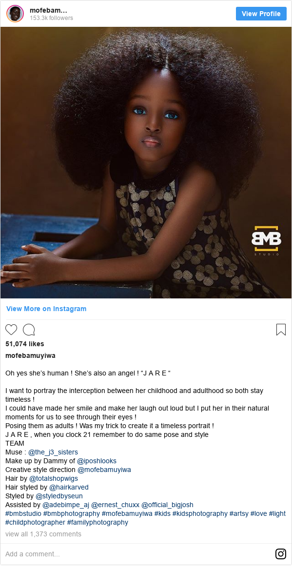 """Instagram post by mofebamuyiwa: Oh yes she's human ! She's also an angel ! """"J A R E """"I want to portray the interception between her childhood and adulthood so both stay timeless ! I could have made her smile and make her laugh out loud but I put her in their natural moments for us to see through their eyes ! Posing them as adults ! Was my trick to create it a timeless portrait ! J A R E , when you clock 21 remember to do same pose and style TEAM Muse @the_j3_sisters Make up by Dammy of @iposhlooks Creative style direction @mofebamuyiwa Hair by @totalshopwigs Hair styled by @hairkarved Styled by @styledbyseun Assisted by @adebimpe_aj @ernest_chuxx @official_bigjosh #bmbstudio #bmbphotography #mofebamuyiwa #kids #kidsphotography #artsy #love #light #childphotographer #familyphotography"""