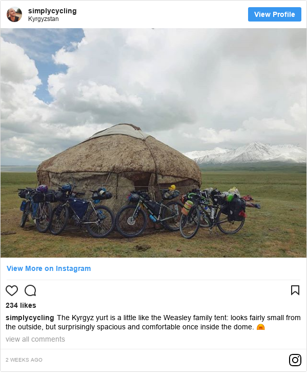 Instagram post de simplycycling: The Kyrgyz yurt is a little like the Weasley family tent  looks fairly small from the outside, but surprisingly spacious and comfortable once inside the dome. ⛺