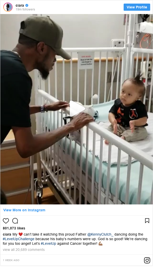 Instagram post by ciara: My ❤️ can't take it watching this proud Father @KennyClutch_ dancing doing the #LevelUpChallenge because his baby's numbers were up. God is so good! We're dancing for you too angel! Let's #LevelUp against Cancer together! 💪🏽