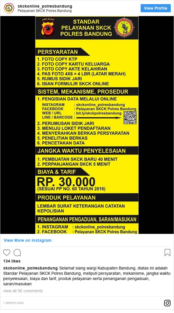 Instagram pesan oleh skckonline_polresbandung: Selamat siang wargi Kabupaten Bandung, diatas ini adalah Standar Pelayanan SKCK Polres Bandung, meliputi persyaratan, mekanisme, jangka waktu penyelesaian, biaya dan tarif, produk pelayanan serta penanganan pengaduan, saran/masukan