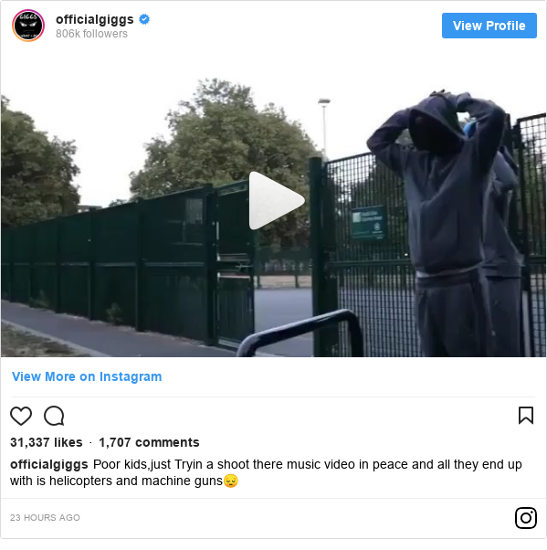Instagram post by officialgiggs: Poor kids,just Tryin a shoot there music video in peace and all they end up with is helicopters and machine guns😔