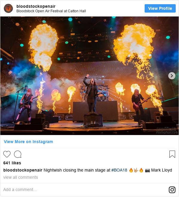 Instagram post by bloodstockopenair: Nightwish closing the main stage at #BOA18 🔥🤟🏼🔥 📷 Mark Lloyd