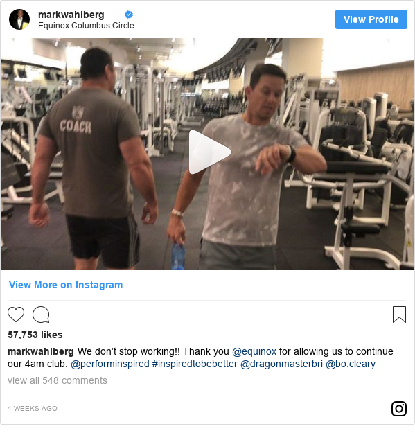 Instagram post by markwahlberg: We don't stop working!! Thank you @equinox for allowing us to continue our 4am club. @performinspired #inspiredtobebetter @dragonmasterbri @bo.cleary
