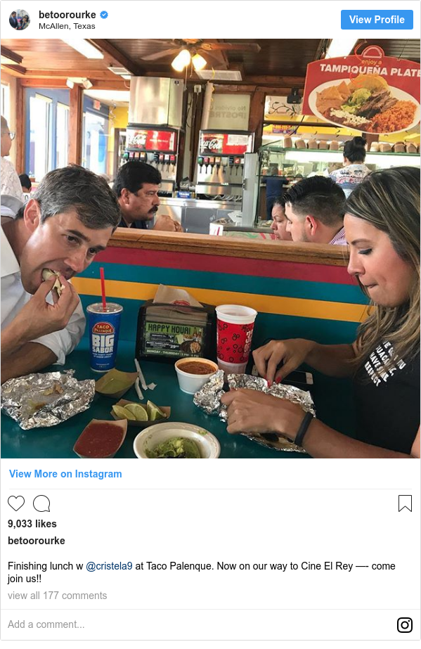 Instagram post by betoorourke: Finishing lunch w @cristela9 at Taco Palenque. Now on our way to Cine El Rey —- come join us!!