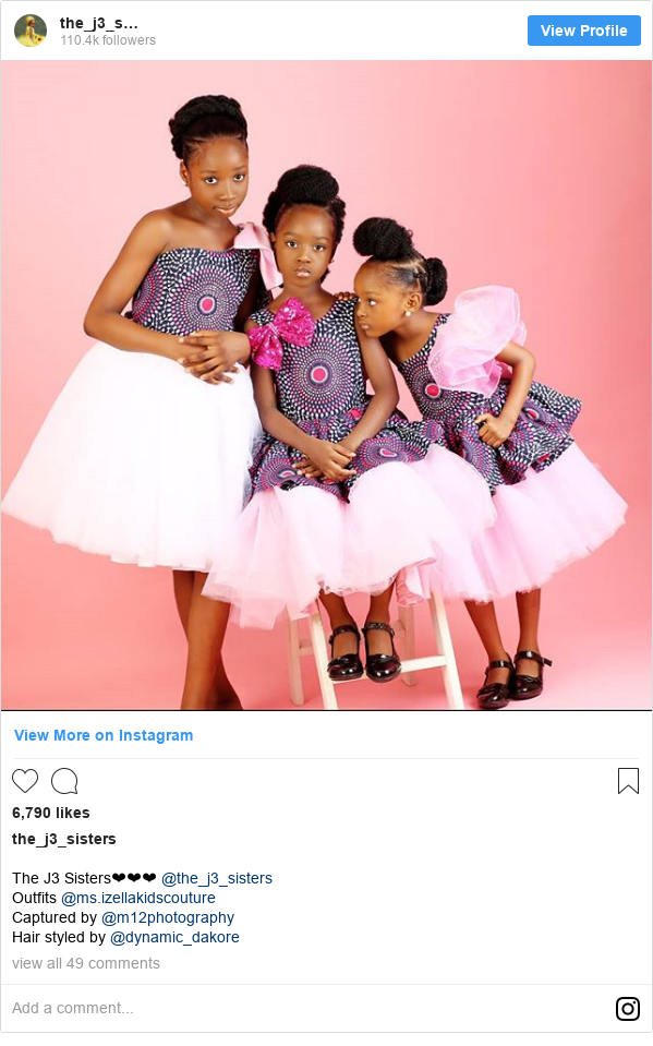 Instagram post by the_j3_sisters: The J3 Sisters❤❤❤ @the_j3_sisters Outfits @ms.izellakidscouture  Captured by @m12photography Hair styled by @dynamic_dakore
