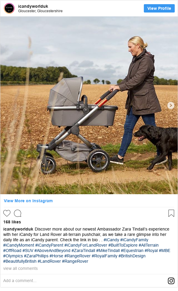 Instagram post by icandyworlduk: Discover more about our newest Ambassador Zara Tindall's experience with her iCandy for Land Rover all-terrain pushchair, as we take a rare glimpse into her daily life as an iCandy parent. Check the link in bio . . #iCandy #iCandyFamily #iCandyMoment #iCandyParent #iCandyForLandRover #BuiltToExplore #AllTerrain #OffRoad #SUV #AboveAndBeyond #ZaraTindall #MikeTindall #Equestrian #Royal #MBE #Olympics #ZaraPhillips #Horse #RangeRover #RoyalFamily #BritishDesign #BeautifullyBritish #LandRover #RangeRover