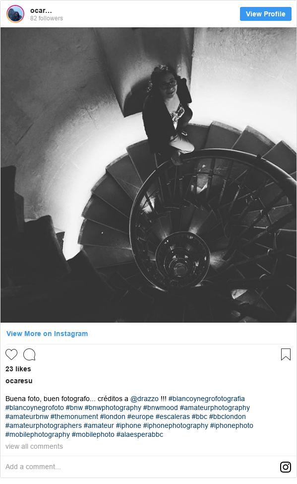 Publicación de Instagram por ocaresu: Buena foto, buen fotografo... créditos  a @drazzo !!! #blancoynegrofotografia #blancoynegrofoto #bnw #bnwphotography #bnwmood #amateurphotography #amateurbnw #themonument #london #europe #escaleras #bbc  #bbclondon  #amateurphotographers #amateur #iphone #iphonephotography #iphonephoto #mobilephotography #mobilephoto #alaesperabbc