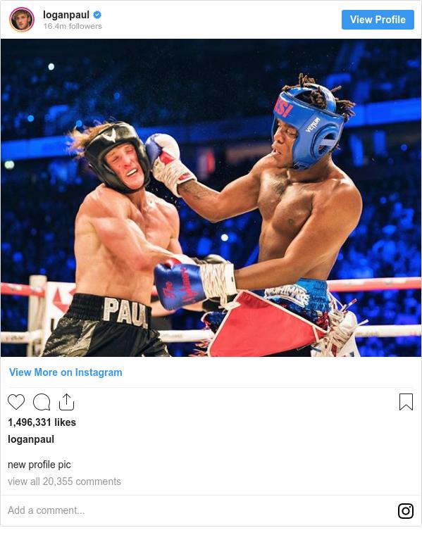 Instagram post by loganpaul: new profile pic