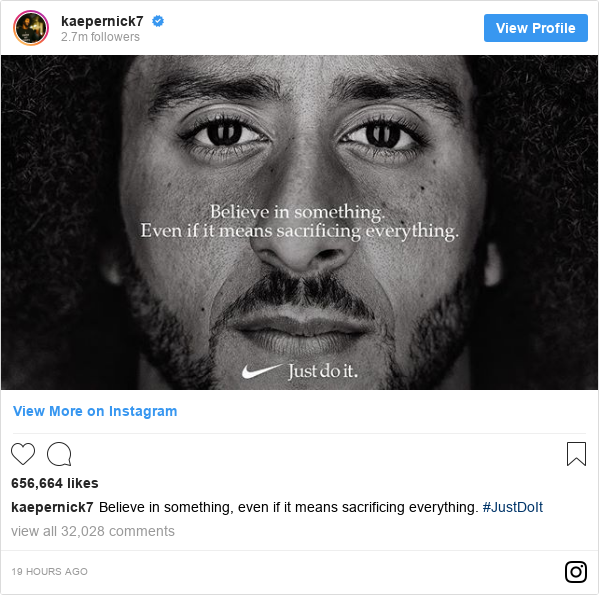 4ebd1b06e64d Instagram post by kaepernick7  Believe in something