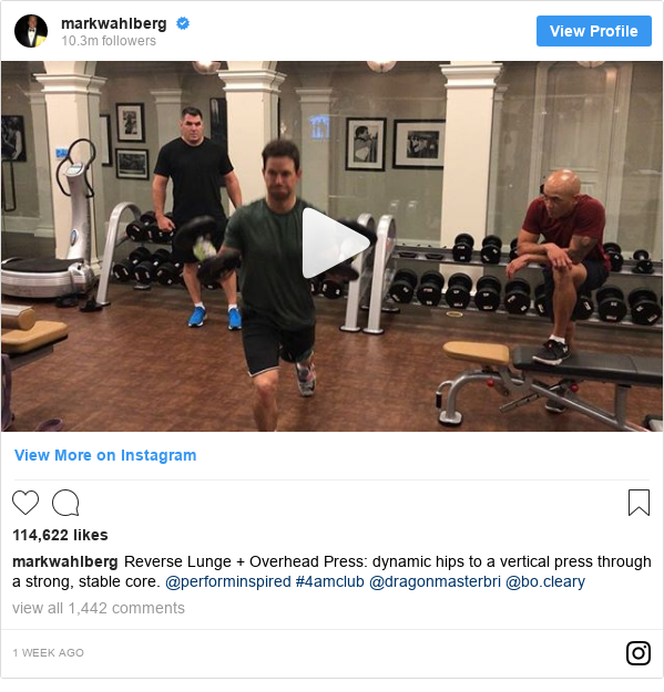 Instagram post by markwahlberg: Reverse Lunge + Overhead Press  dynamic hips to a vertical press through a strong, stable core. @performinspired #4amclub @dragonmasterbri @bo.cleary