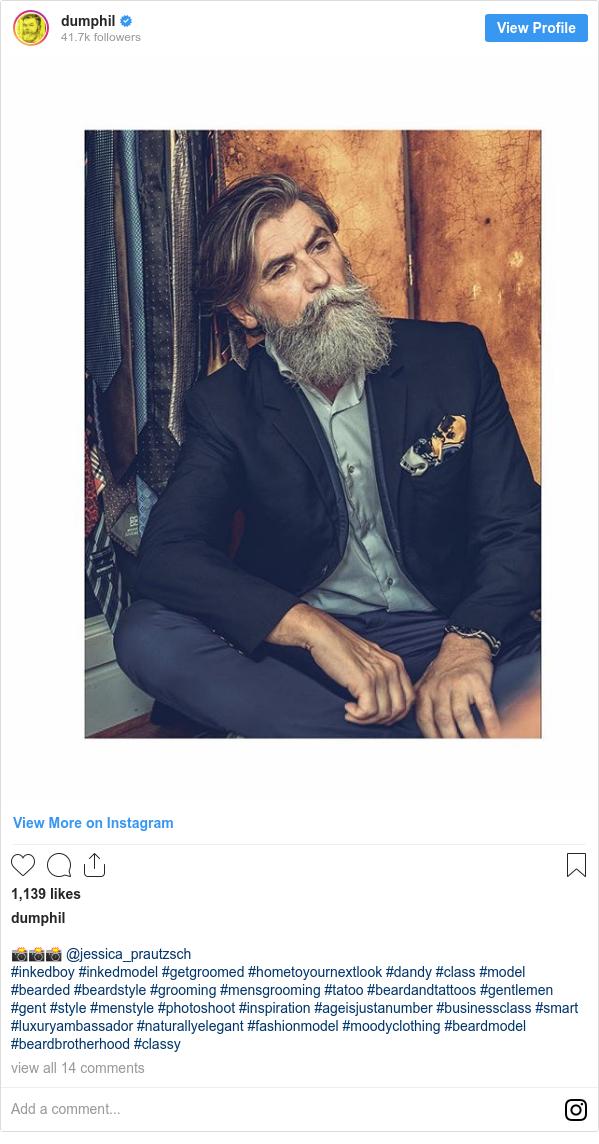 Instagram пост, автор: dumphil: 📸📸📸 @jessica_prautzsch  #inkedboy #inkedmodel #getgroomed #hometoyournextlook #dandy #class #model #bearded #beardstyle #grooming #mensgrooming #tatoo #beardandtattoos #gentlemen #gent #style #menstyle #photoshoot #inspiration #ageisjustanumber #businessclass #smart #luxuryambassador #naturallyelegant #fashionmodel #moodyclothing #beardmodel #beardbrotherhood #classy