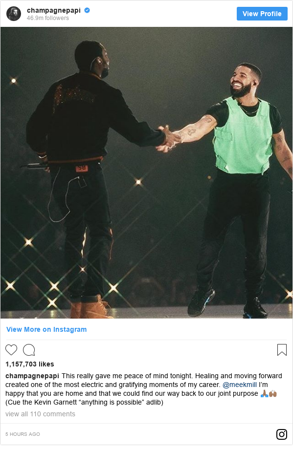"""Instagram post by champagnepapi: This really gave me peace of mind tonight. Healing and moving forward created one of the most electric and gratifying moments of my career. @meekmill I'm happy that you are home and that we could find our way back to our joint purpose 🙏🏽🙌🏽 (Cue the Kevin Garnett """"anything is possible"""" adlib)"""