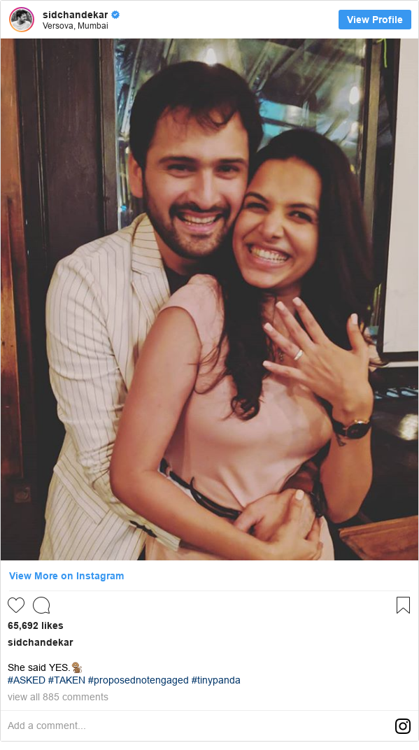 Instagram post by sidchandekar: She said YES.🐒 #ASKED #TAKEN #proposednotengaged #tinypanda
