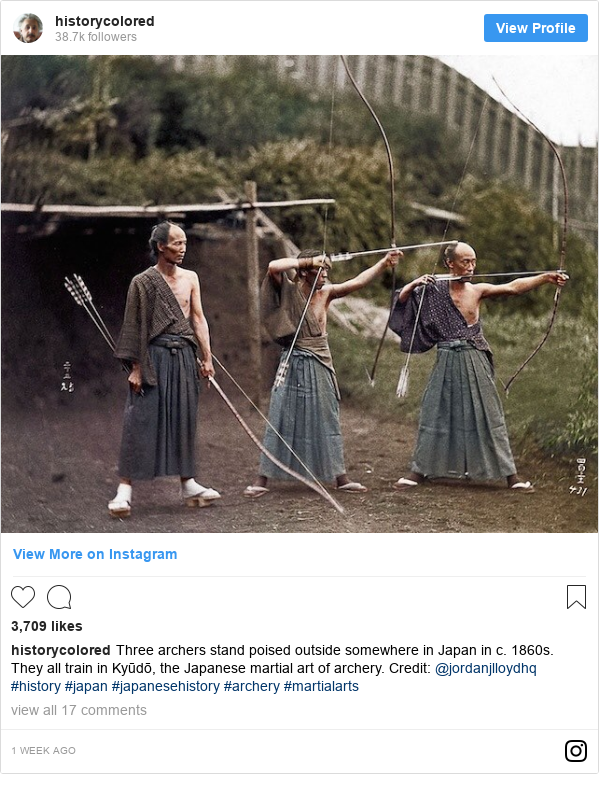 Instagram post by historycolored: Three archers stand poised outside somewhere in Japan in c. 1860s. They all train in Kyūdō, the Japanese martial art of archery. Credit  @jordanjlloydhq  #history #japan #japanesehistory #archery #martialarts