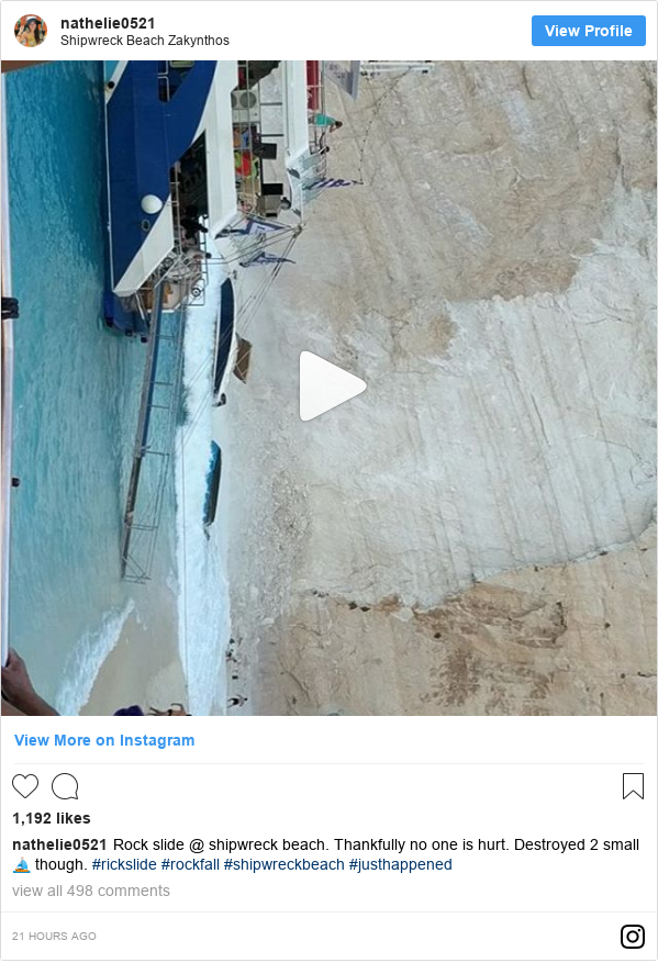 Instagram post by nathelie0521: Rock slide @ shipwreck beach. Thankfully no one is hurt. Destroyed 2 small ⛵ though.  #rickslide #rockfall #shipwreckbeach #justhappened