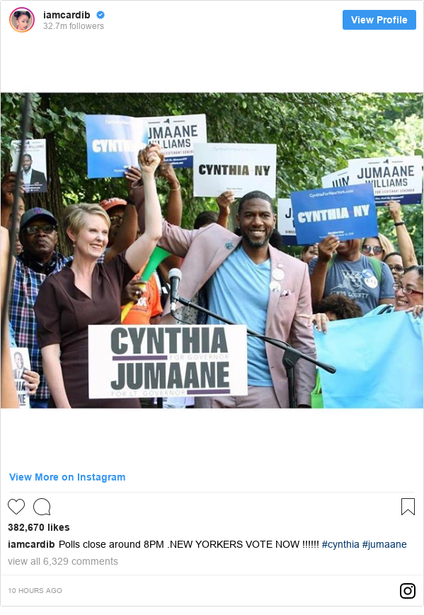 Instagram post by iamcardib: Polls close around 8PM .NEW YORKERS VOTE NOW !!!!!! #cynthia #jumaane