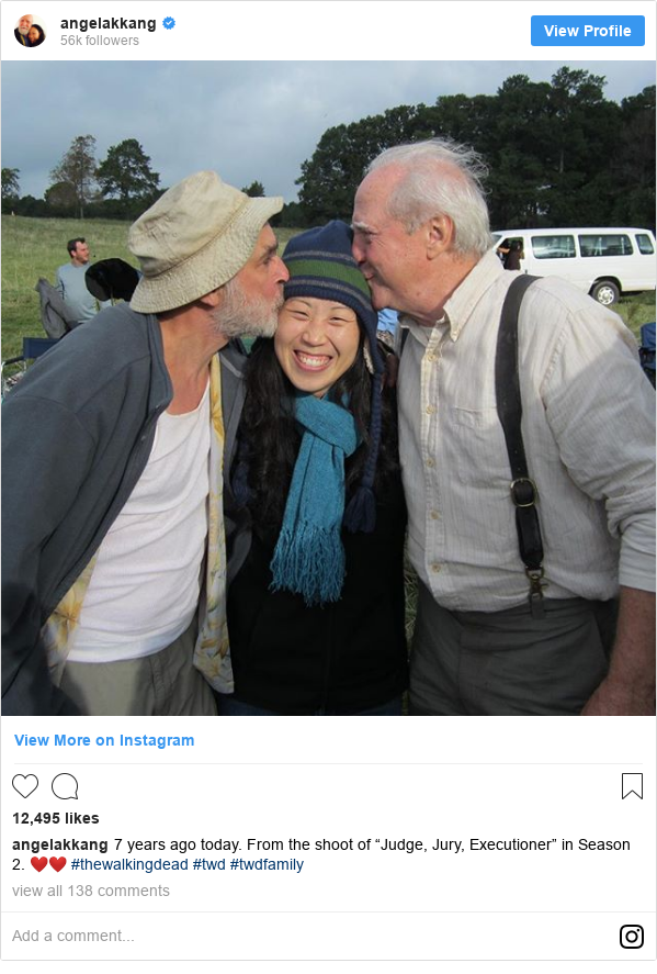 """Instagram post by angelakkang: 7 years ago today. From the shoot of """"Judge, Jury, Executioner"""" in Season 2. ❤️❤️ #thewalkingdead #twd #twdfamily"""