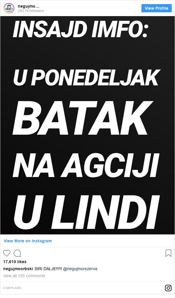 Instagram post by negujmosrbski: SIRI DALJE!!!!! @negujmorezerva