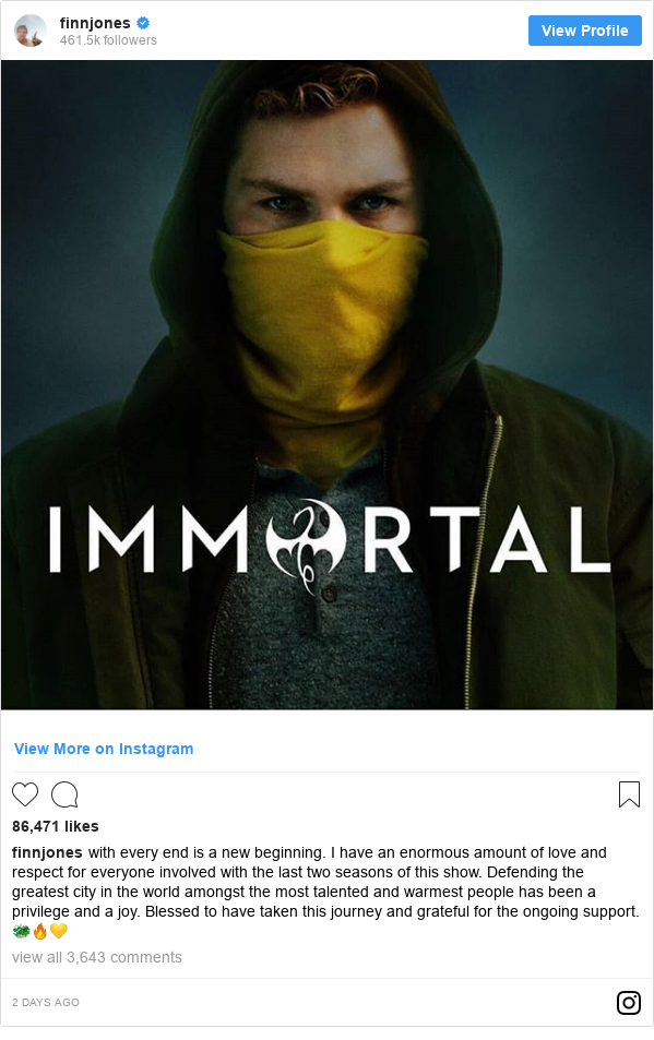 Instagram post by finnjones: with every end is a new beginning.  I have an enormous amount of love and respect for everyone involved with the last two seasons of this show. Defending the greatest city in the world amongst the most talented and warmest people has been a privilege and a joy. Blessed to have taken this journey and grateful for the ongoing support. 🐲🔥💛