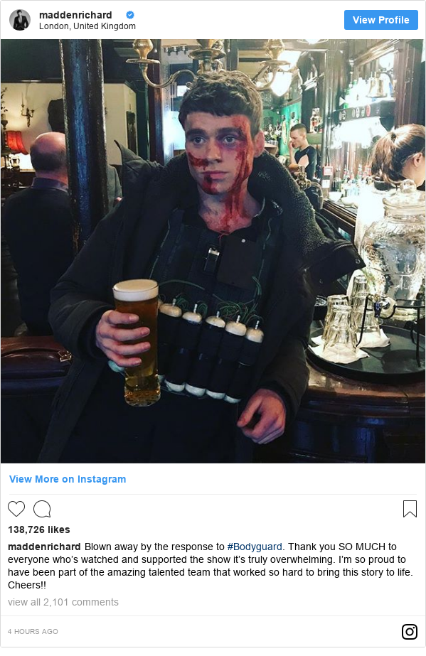 Instagram post by maddenrichard: Blown away by the response to #Bodyguard. Thank you SO MUCH to everyone who's watched and supported the show it's truly overwhelming. I'm so proud to have been part of the amazing talented team that worked so hard to bring this story to life. Cheers!!