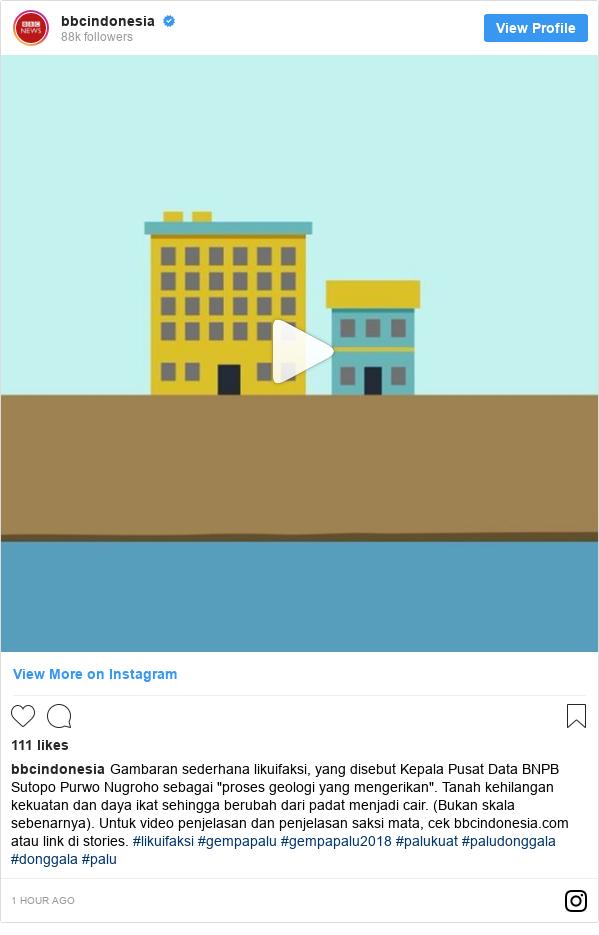 """Instagram pesan oleh bbcindonesia: Gambaran sederhana likuifaksi, yang disebut Kepala Pusat Data BNPB Sutopo Purwo Nugroho sebagai """"proses geologi yang mengerikan"""". Tanah kehilangan kekuatan dan daya ikat sehingga berubah dari padat menjadi cair. (Bukan skala sebenarnya). Untuk video penjelasan dan penjelasan saksi mata, cek bbcindonesia.com atau link di stories. #likuifaksi #gempapalu #gempapalu2018 #palukuat #paludonggala #donggala #palu"""