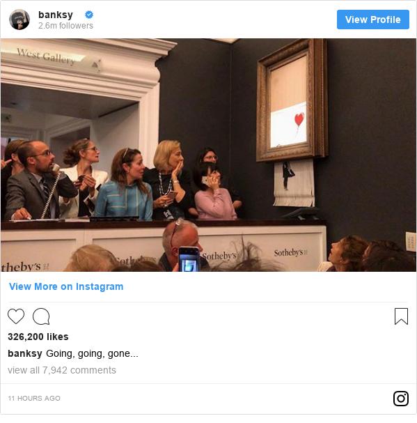 Publicación de Instagram por banksy: Going, going, gone...