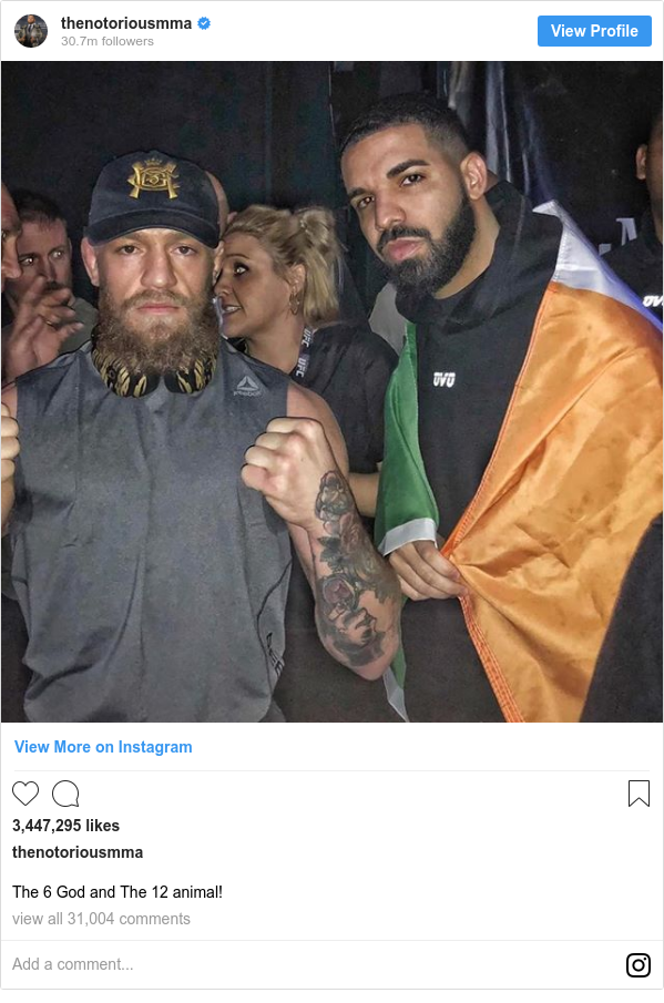 Instagram post by thenotoriousmma: The 6 God and The 12 animal!