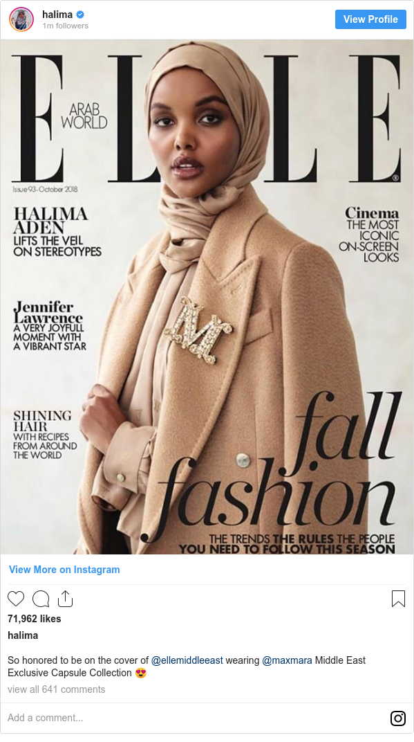 Instagram пост, автор: halima: So honored to be on the cover of @ellemiddleeast wearing @maxmara Middle East Exclusive Capsule Collection 😍