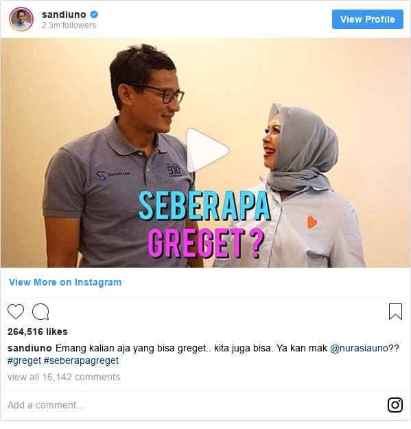 Instagram pesan oleh sandiuno: Emang kalian aja yang bisa greget.. kita juga bisa. Ya kan mak @nurasiauno?? #greget #seberapagreget