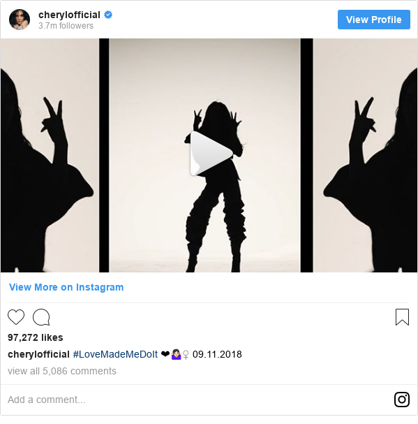 Instagram post by cherylofficial: #LoveMadeMeDoIt ❤🤷🏻♀️ 09.11.2018