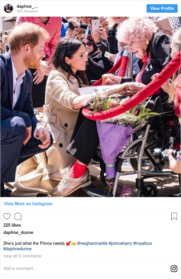 Instagram post by daphne_dunne: She's just what the Prince needs 💕👑 #meghanmarkle #princeharry #royaltour #daphnedunne