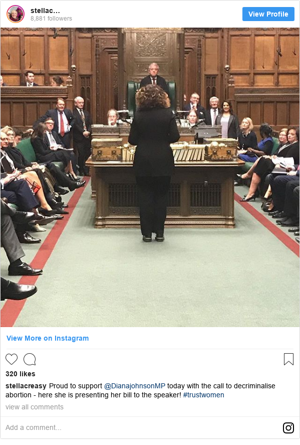 Instagram post by stellacreasy: Proud to support @DianajohnsonMP today with the call to decriminalise abortion - here she is presenting her bill to the speaker! #trustwomen