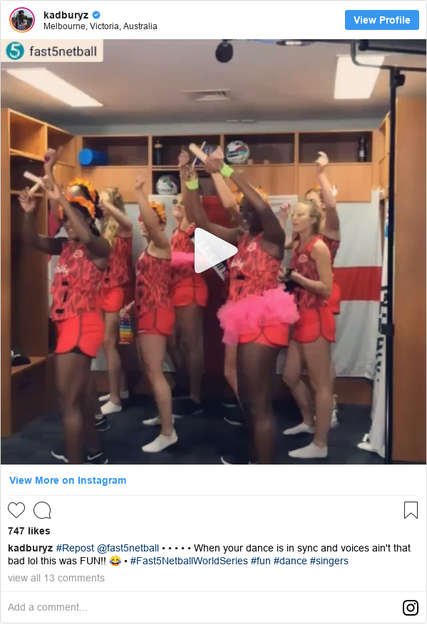 Instagram post by kadburyz: #Repost @fast5netball • • • • • When your dance is in sync and voices ain't that bad lol this was FUN!! 😂 • #Fast5NetballWorldSeries #fun #dance #singers