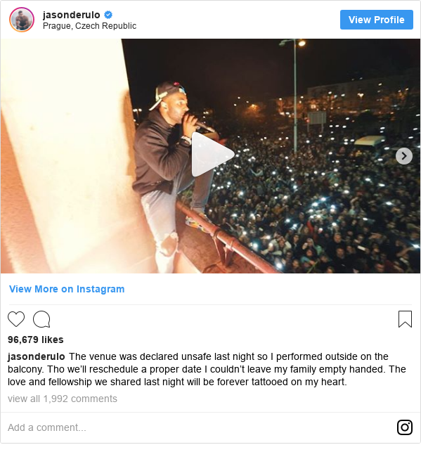 Instagram post by jasonderulo: The venue was declared unsafe last night so I performed outside on the balcony. Tho we'll reschedule a proper date I couldn't leave my family empty handed. The love and fellowship we shared last night will be forever tattooed on my heart.
