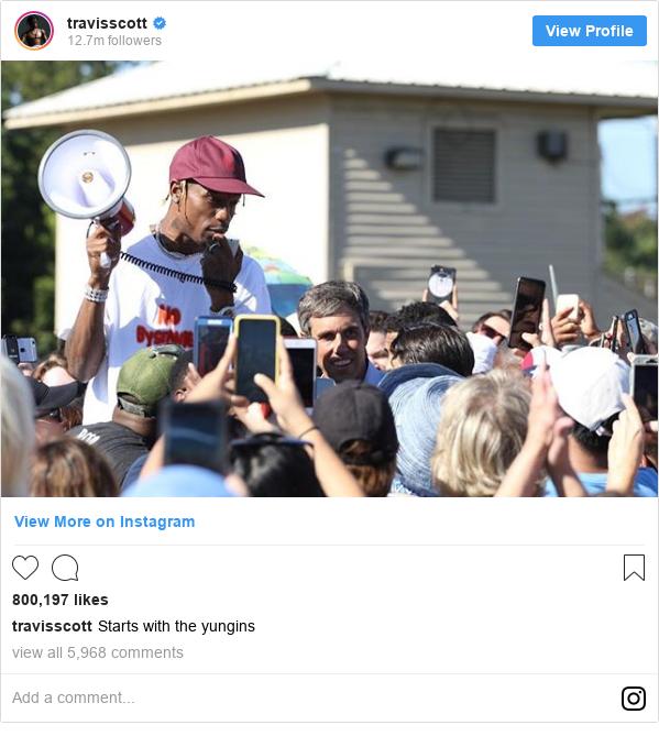 Instagram post by travisscott: Starts with the yungins