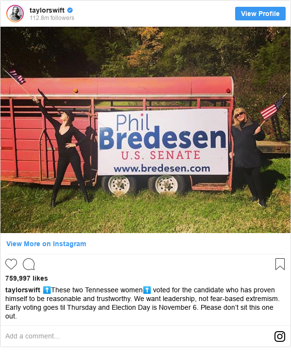 Instagram post by taylorswift: ⬆️These two Tennessee women⬆️ voted for the candidate who has proven himself to be reasonable and trustworthy. We want leadership, not fear-based extremism. Early voting goes til Thursday and Election Day is November 6. Please don't sit this one out.