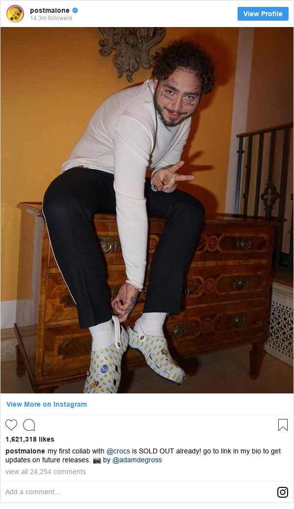 Instagram post by postmalone: my first collab with @crocs is SOLD OUT already! go to link in my bio to get updates on future releases. 📷 by @adamdegross