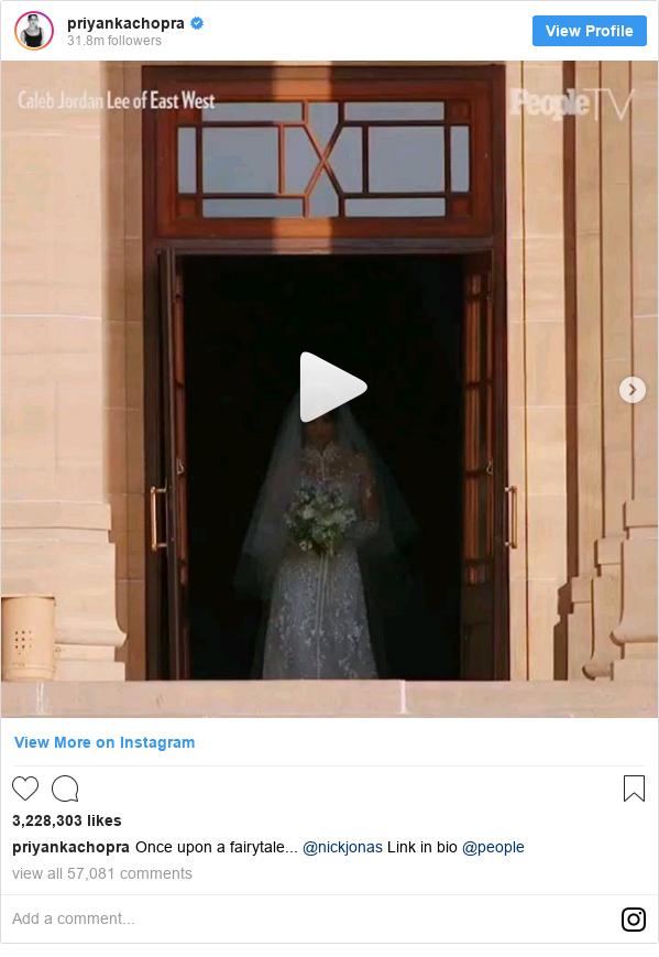 Instagram post by priyankachopra: Once upon a fairytale... @nickjonas Link in bio @people