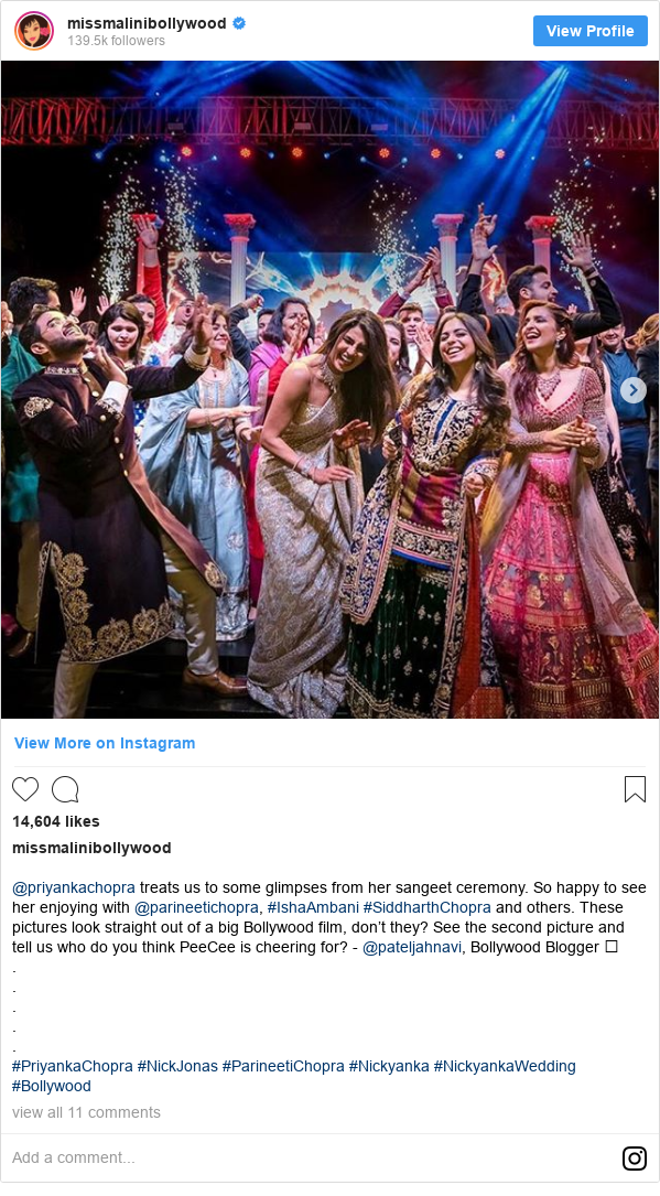 Instagram post by missmalinibollywood: @priyankachopra treats us to some glimpses from her sangeet ceremony. So happy to see her enjoying with @parineetichopra, #IshaAmbani #SiddharthChopra and others. These pictures look straight out of a big Bollywood film, don't they? See the second picture and tell us who do you think PeeCee is cheering for? - @pateljahnavi, Bollywood Blogger 🥳 . . . . . #PriyankaChopra #NickJonas #ParineetiChopra #Nickyanka #NickyankaWedding #Bollywood
