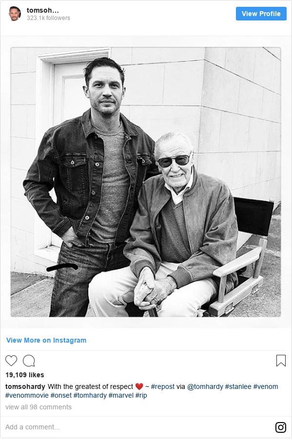 Instagram пост, автор: tomsohardy: With the greatest of respect ❤️ ~  #repost via @tomhardy  #stanlee #venom #venommovie #onset #tomhardy #marvel #rip