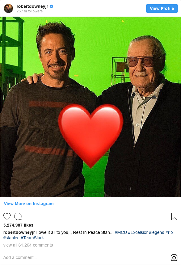 Instagram post by robertdowneyjr: I owe it all to you,,, Rest In Peace Stan... #MCU #Excelsior #legend #rip #stanlee #TeamStark