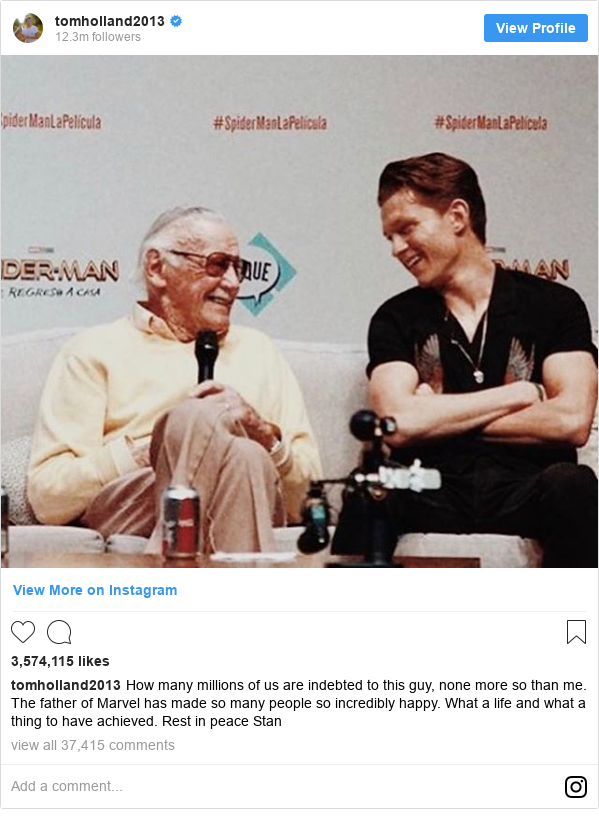 Instagram post by tomholland2013: How many millions of us are indebted to this guy, none more so than me. The father of Marvel has made so many people so incredibly happy. What a life and what a thing to have achieved. Rest in peace Stan