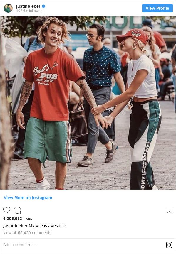 انستاغرام رسالة بعث بها justinbieber: My wife is awesome