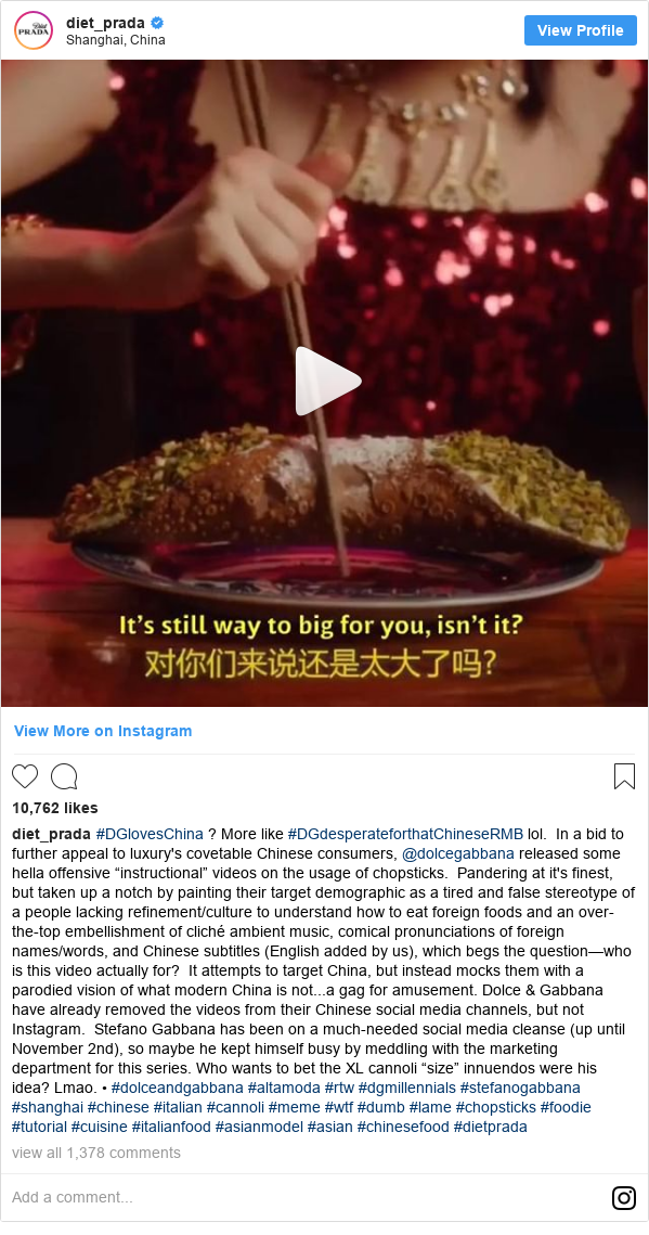 """Instagram пост, автор: diet_prada: #DGlovesChina ? More like #DGdesperateforthatChineseRMB lol.In a bid to further appeal to luxury's covetable Chinese consumers, @dolcegabbana released some hella offensive """"instructional"""" videos on the usage of chopsticks.Pandering at it's finest, but taken up a notch by painting their target demographic as a tired and false stereotype of a people lacking refinement/culture to understand how to eat foreign foods and an over-the-top embellishment of cliché ambient music, comical pronunciations of foreign names/words, and Chinese subtitles (English added by us), which begs the question—who is this video actually for?It attempts to target China, but instead mocks them with a parodied vision of what modern China is not...a gag for amusement.  Dolce & Gabbana have already removed the videos from their Chinese social media channels, but not Instagram.Stefano Gabbana has been on a much-needed social media cleanse (up until November 2nd), so maybe he kept himself busy by meddling with the marketing department for this series.  Who wants to bet the XL cannoli """"size"""" innuendos were his idea? Lmao. • #dolceandgabbana #altamoda #rtw #dgmillennials #stefanogabbana #shanghai #chinese #italian #cannoli #meme #wtf #dumb #lame #chopsticks #foodie #tutorial #cuisine #italianfood #asianmodel #asian #chinesefood #dietprada"""