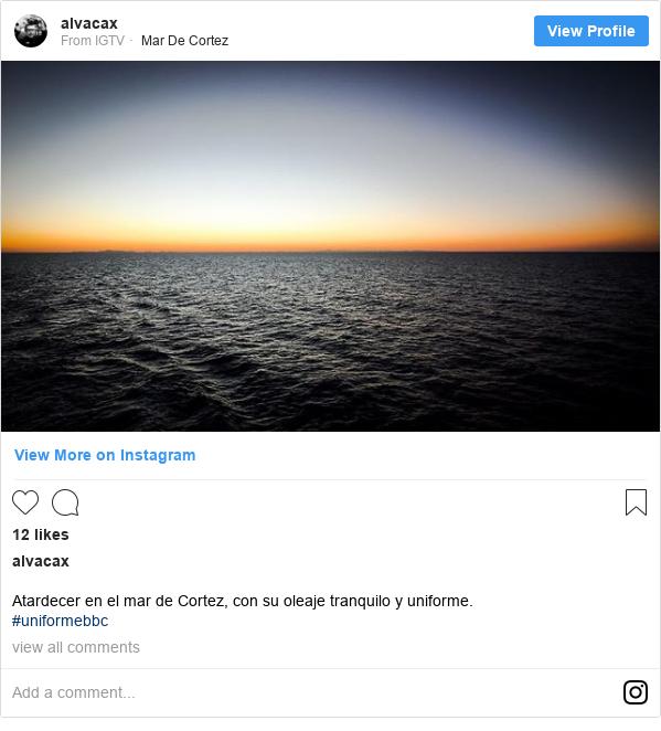 Publicación de Instagram por alvacax: Atardecer en el mar de Cortez, con su oleaje tranquilo y uniforme. #uniformebbc