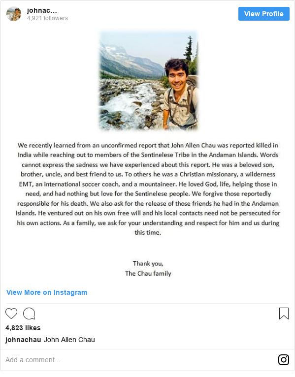 Instagram හි johnachau කළ පළකිරීම: John Allen Chau