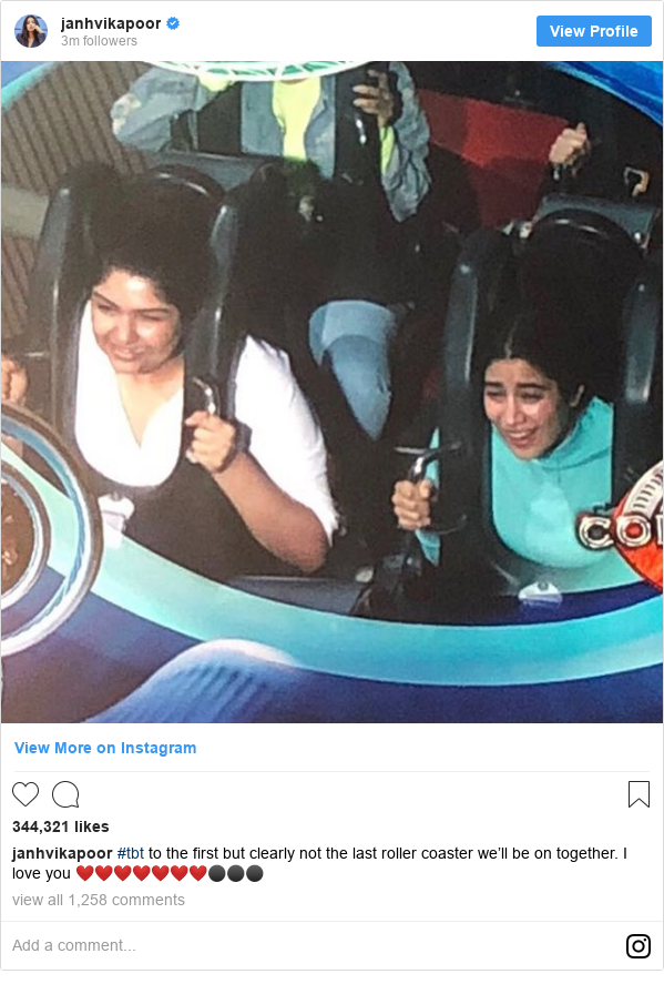 Instagram post by janhvikapoor: #tbt to the first but clearly not the last roller coaster we'll be on together. I love you ❤️❤️❤️❤️❤️❤️❤️⚫️⚫️⚫️