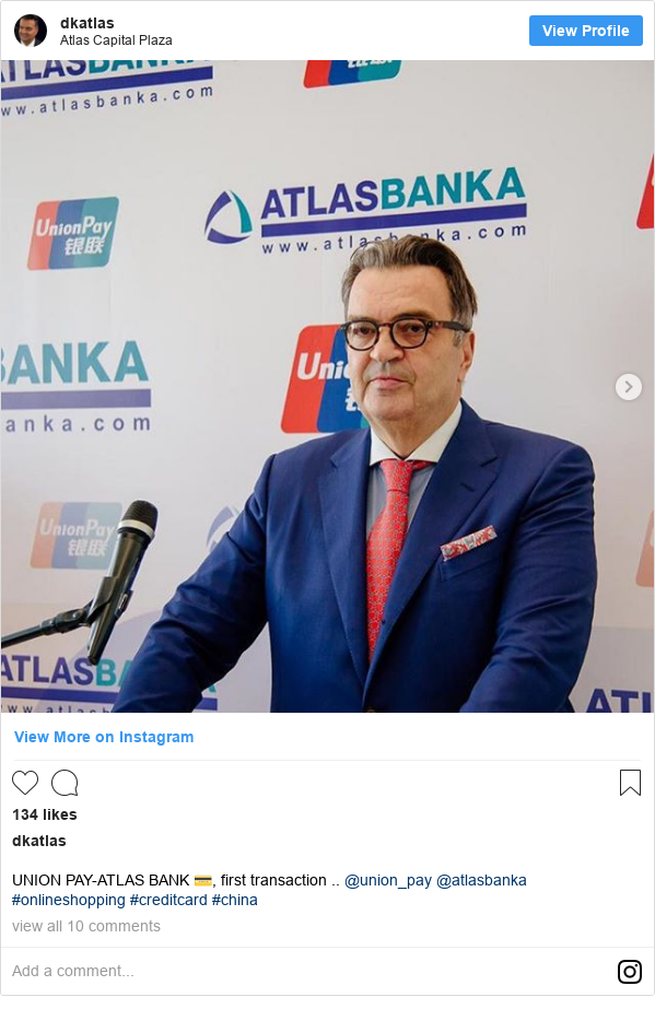 Instagram post by dkatlas: UNION PAY-ATLAS BANK 💳, first transaction .. @union_pay @atlasbanka #onlineshopping #creditcard #china